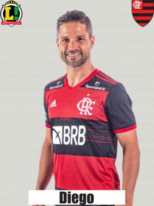 DIEGO - 7,5 - Partida muito sólida como segundo volante. Além de ajudar o Flamengo a ter mobilidade ofensiva, salvou um gol certo do Bahia na reta final.