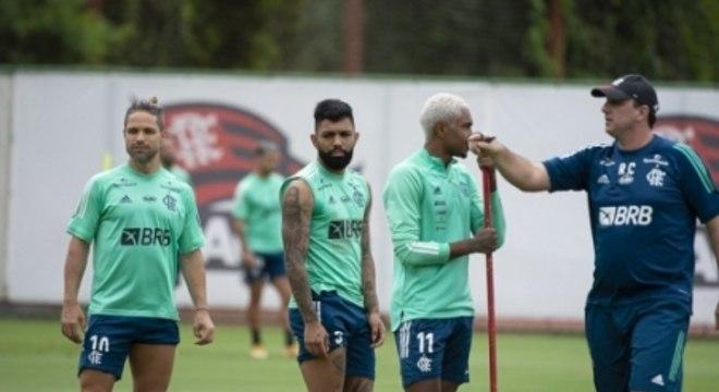 Diego, Gabigol, Vitinho e Rogério Ceni - Treino