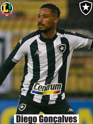 Diego Gonçalves - 6,5 - Foi uma das principais peças do Botafogo, principalmente no primeiro tempo, quando aproveitou bem os espaços em contra-ataque. Fez uma ótima jogada individual que terminou no primeiro pênalti convertido por Chay.