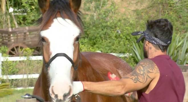 Diego sempre escova e dá banho no cavalo Lyon
