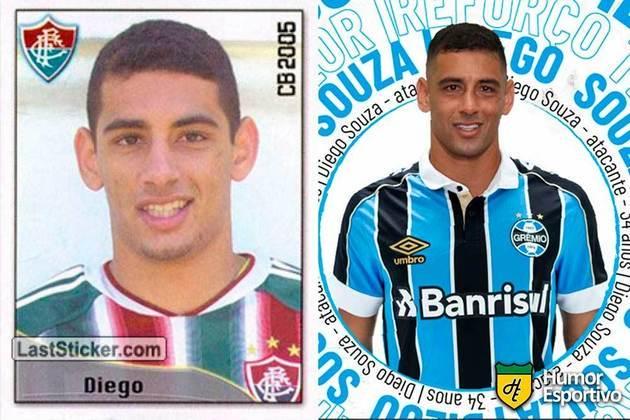 Diego Souza jogou em 2005 pelo Fluminense. Inicia o Brasileirão 2021 com 35 anos e jogando pelo Grêmio.
