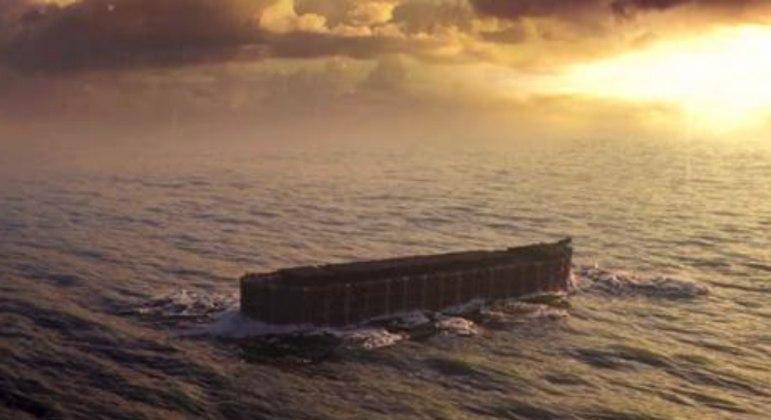 Anos se passam, Noé, sua família e os bichos da arca desembarcam em terra firme e seca