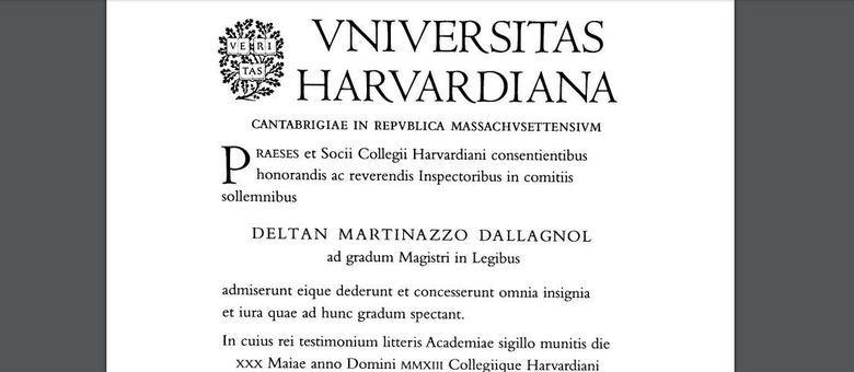 Deltan Dallagnol concluiu o mestrado em Harvard em 2013 e obteve revalidação em 2014