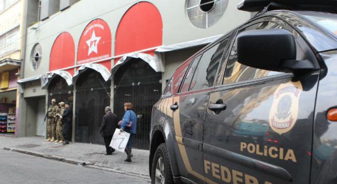 Diretório do PT em São Paulo, durante operação policial