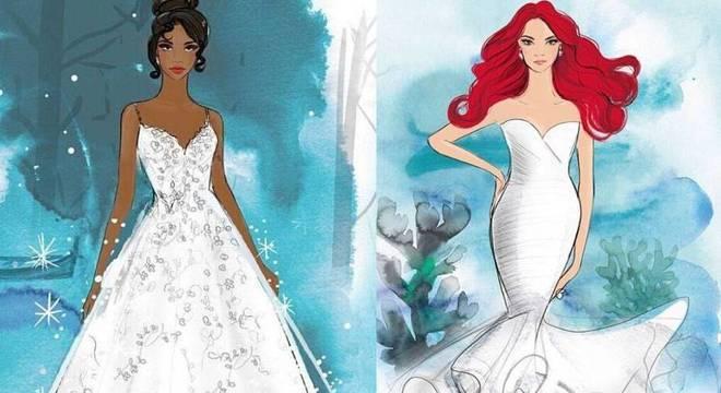 Vestidos inspirados nas princesas Tiana e Ariel