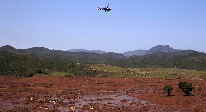 Distrito de Bento Rodrigues, em Mariana, após rompimento de barragem