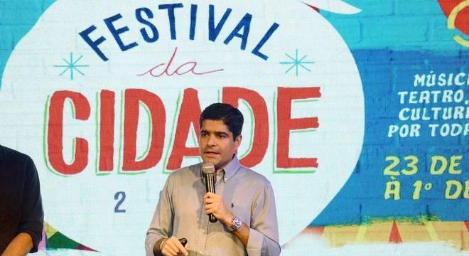 O prefeito de Salvador, ACM Neto (DEM), durante lançamento do Festival da Cidade 2018