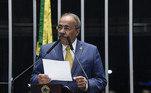 Plenário do Senado Federal durante sessão deliberativa ordinária.     Em discurso, à tribuna, senador Chico Rodrigues (DEM-RR).