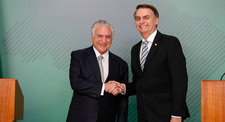 Bolsonaro e Michel Temer em encontro no ano de 2018