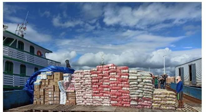 Cestas básicas para distribuição às comunidades ribeirinhas de Lábrea (AM)