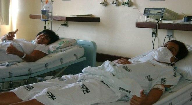 A doadora Roseli e a receptora Cátia antes do procedimento na Fundação Pró-Rim