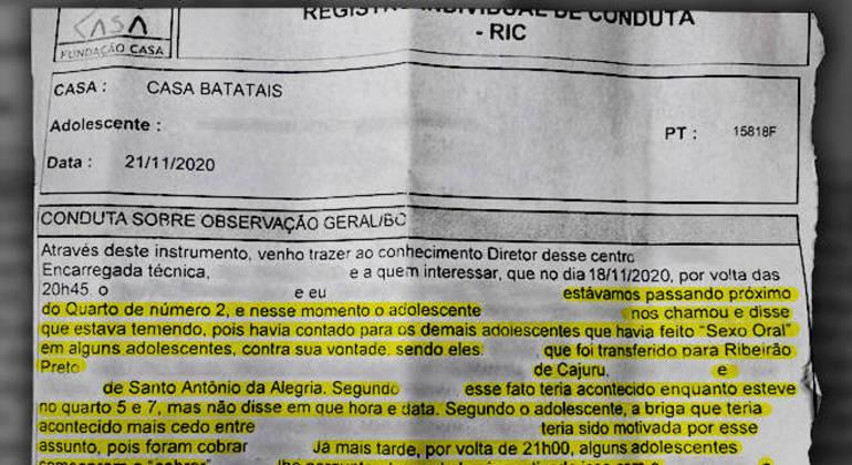 Relatório registra estupro cometido por seis jovens contra uma vítima em um dormitório