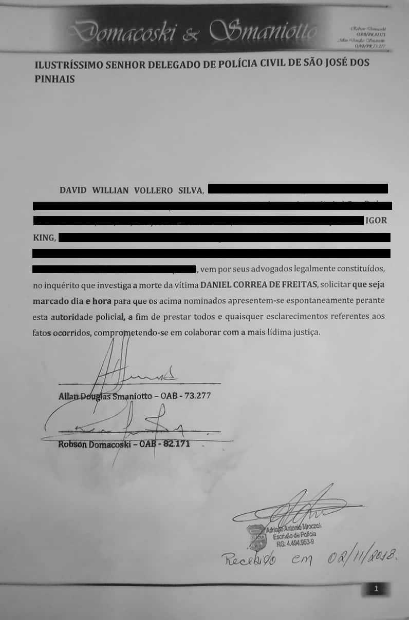 Documento apresentado pelo advogado dos suspeitos à polícia