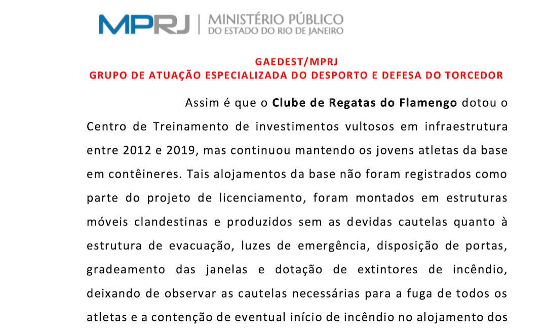 Trecho da denúncia do MP-RJ sobre o incêndio no CT Ninho do Urubu, do Flamengo
