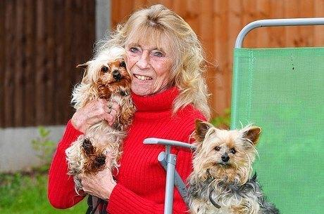"""Carol Sault com seus """"cães velhinhos"""""""