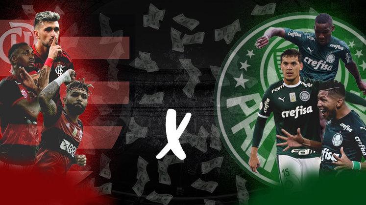 Dois dos elencos mais valiosos do país, Flamengo e Palmeiras disputam neste domingo o primeiro título da temporada no futebol brasileiro: a Supercopa do Brasil. Confira, a seguir, o valor de mercado dos principais jogadores de cada equipe. Os dados são do site Transfermarkt.