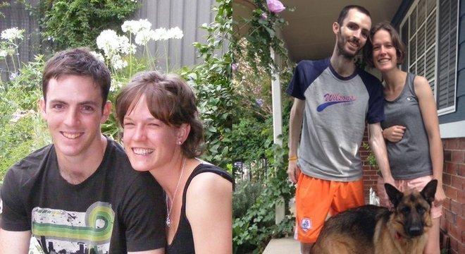 Dan com sua mulher, Alyce, em dois momentos: ele perdeu muito peso por causa da quimioterapia