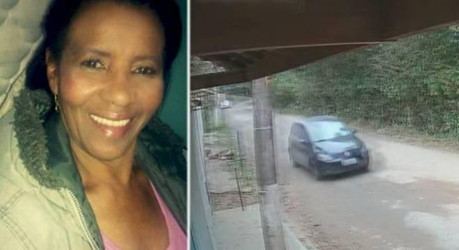 Vera Lúcia, à esquerda, e a imagem de seu carro logo após o desaparecimento