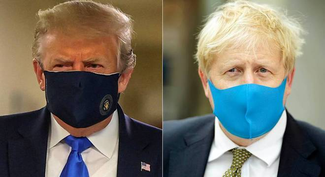 Donald Trump e Boris Johnson passaram a usar máscaras em público recentemente
