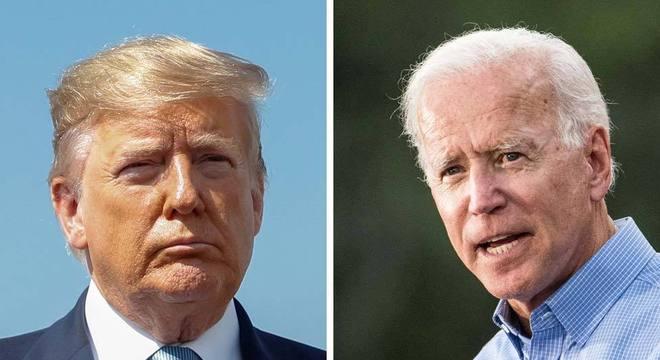 Informante diz que Trump pediu a líder ucraniano para investigar Biden (dir.) e seu filho