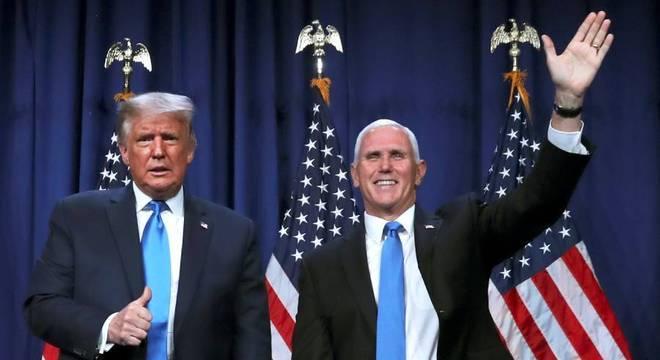 Donald Trump e Mike Pence na Convenção Republicana em Charlotte