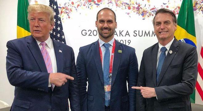 Eduardo esteve com os presidentes Trump e Bolsonaro em Osaka
