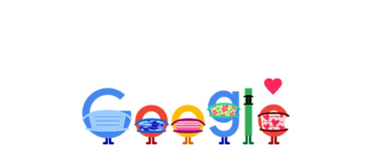 Google publica Doodle para orientar sobre o uso de máscaras na pandemia
