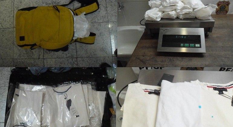 Polícia encontra cocaína engomada em peças de roupas em bagagem