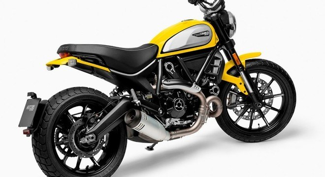 Estilo único da Ducati Scrambler Icon com destaque para o motor na cor preta: R$ 44,9 mil até 30/04