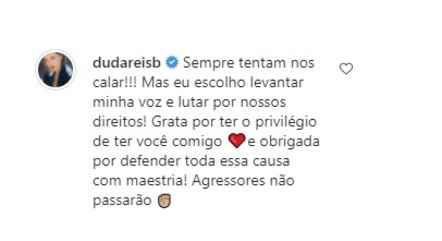 Duda falou após ser processada pelo ex