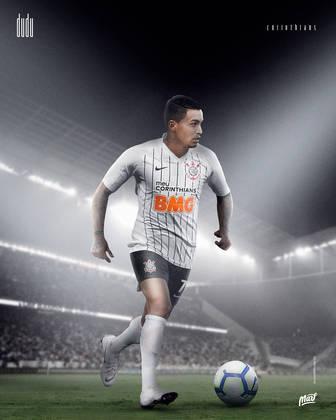 Dudu, ídolo do Palmeiras, com a camisa do Corinthians.