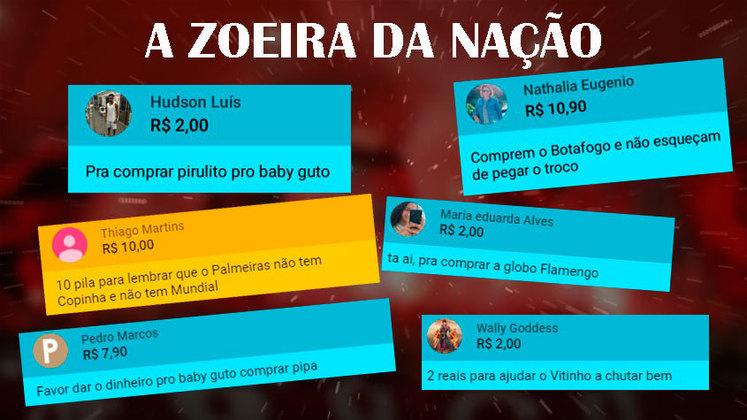 Durante a transmissão da vitória contra o Boavista pela Fla TV, os rubro-negros fizeram piadas no momento de fazer doações. Não faltaram provocações aos rivais. Veja na galeria!
