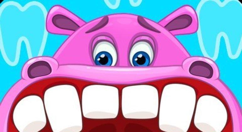 É um jogo de dentista para animais. Como em um consultório odontológico, usa-se os instrumentos necessários para tratar os dentes deles.