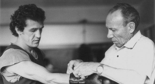 Éder e o pai/treinador, Kid Jofre, nos anos 50