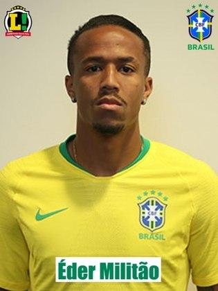 Éder Militão - 7,5 - Em ótimo cabeceio, marcou o primeiro gol do Brasil. Teve mais trabalho no segundo tempo, mas foi muito bem e levou a melhor na maioria dos combates.