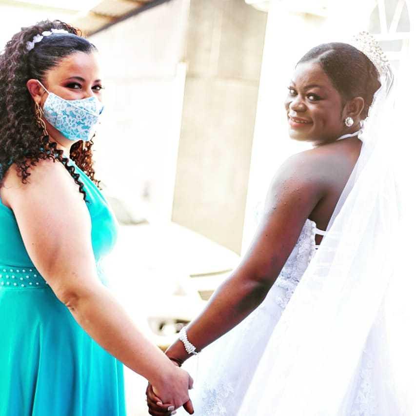Edna e Mevi no dia em que a haitiana se casou