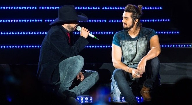 Luan Santana fez participação especial no DVD da dupla. Divulgação/Erick Oelk