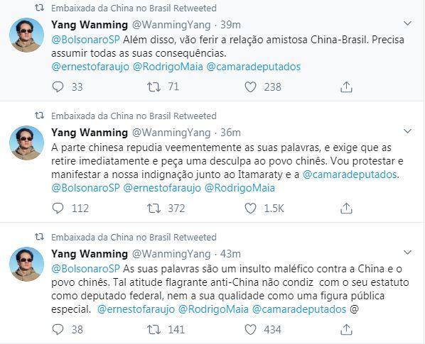 Yang Wanming rebateu acusação de Eduardo Bolsonaro