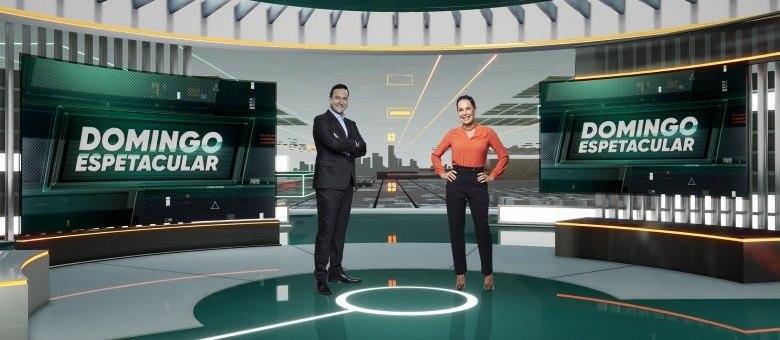 Eduardo Ribeiro e Carolina Ferraz comandam o Domingo Espetacular, a revista eletrônica da Record TV