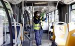 Milan (Italy), 04/05/2020.- An employee of the municipal public transport company of Milan (ATM) sanitizes a trolleybus in Milan, northern Italy, 04 May 2020, during the coronavirus disease (COVID-19) pandemic. Italy entered the second phase of its coronavirus emergency on 04 May with the start of the gradual relaxation of the lockdown measures that have been in force for 55 days. (Italia) EFE/EPA/MOURAD BALTI TOUATI