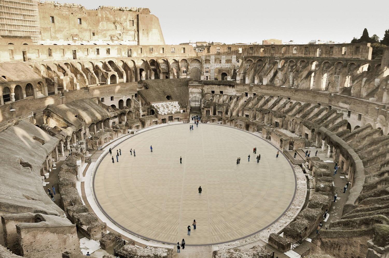 Recriação por computador do Coliseu e sua futura arena de madeira vista de cima com turistas
