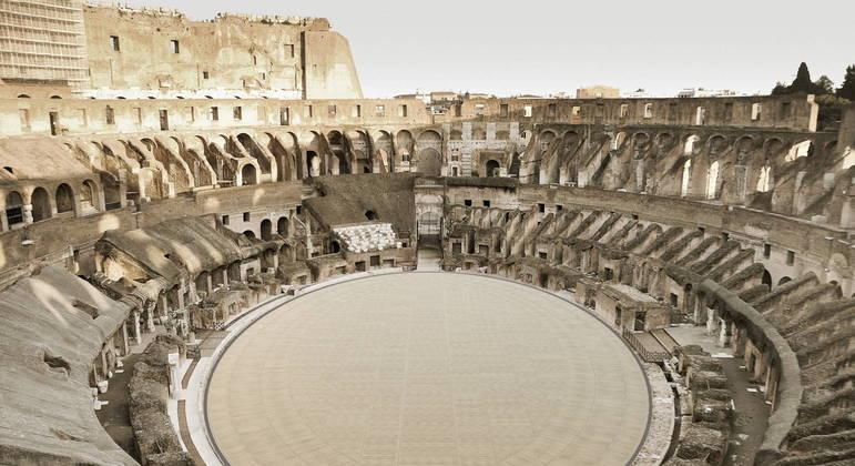 Recriação informática do Coliseu e sua futura arena de madeira vistos do alto