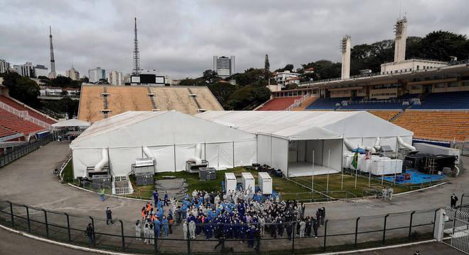 Pacaembu foi usado como hospital para receber pacientes com covid