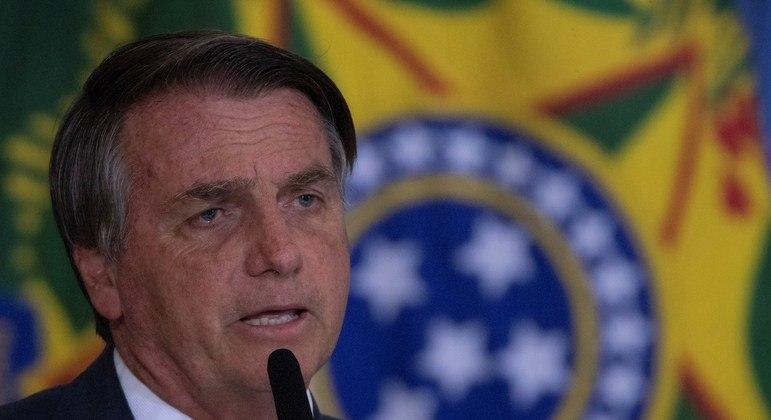 O presidente Jair Bolsonaro, que participou de entrega do Prêmio Marechal Rondon de Comunicações