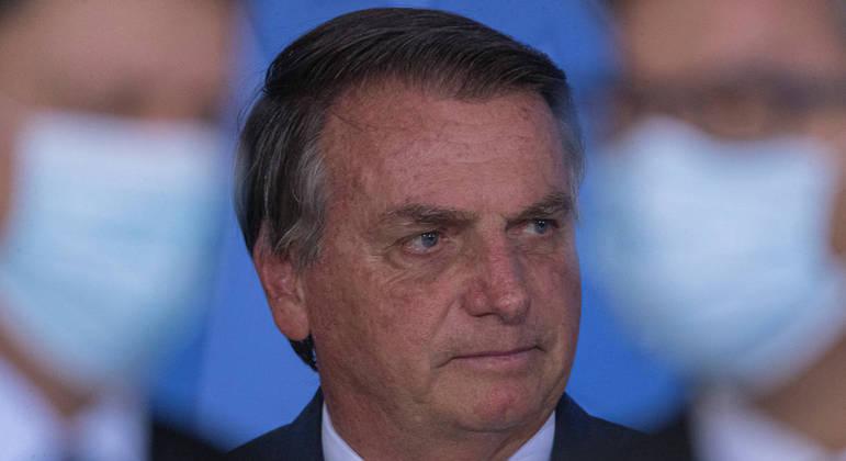 BRA113. BRASILIA (BRASIL), 02/09/2021. - El presidente de Brasil, Jair Bolsonaro, participa en la ceremonia de lanzamiento de Autorizaciones Ferroviarias, este jueves en el Palacio do Planalto, en la ciudad de Brasilia. EFE/ Joedson Alves