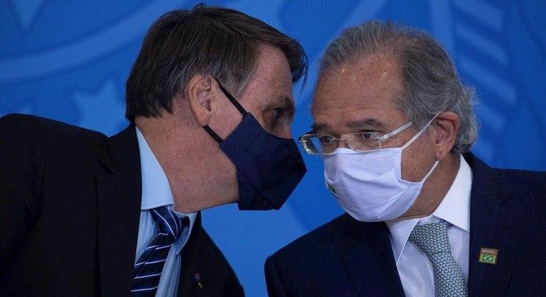 Jair Bolsonaro, presidente da República, e Paulo Guedes, ministro da Economia