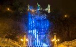 Budapestr (Hungary).- The artificial waterfall on Gellert Hill under the statue of Bishop St. Gellert is illuminated with blue light symbolizing the Northern Light to mark the 100th anniversary of the independence of Finland in Budapest, Hungary, 03 December 2017 (re-issued 18 May 2020). As prominent in both sky and sea, the color blue is often associated with open spaces, freedom, depth and wisdom. In psychology blue is viewed as a non-threatening color and it is believed to have positive and calming effects on body and mind. Often linked with intellect, confidence and reliability, it is known in corporate America as a power color. (Finlandia, Hungría) EFE/EPA/BALAZS MOHAI HUNGARY OUT ATTENTION: This Image is part of a PHOTO SET *** Local Caption *** 53935229