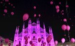 Milan (Italy), 27/09/2017.- The Milan Cathedral is illuminated in pink to celebrate the 25th anniversary of the fight against breast cancer, in Milan, Italy, 27 September 2017 (reissued 19 May 2020). Pink became fashionable as a luxurious color worn by both sexes in the mid 1700s. By the time men moved to darker hues, women adopted pink and it became the girls' color. In the 1960s high fashion and celebrities embraced pink. A significant change took place when the color became a symbol for women's and LGBTQ rights in the 1970s and, from 1990 on, also the symbolic color for the struggle against breast cancer. Subsequently, pink is now recognized as a color of protest, femininity, joy, energy and affirmation. (Moda, Protestas, Italia) EFE/EPA/DANIEL DAL ZENNARO ATTENTION: This Image is part of a PHOTO SET *** Local Caption ***