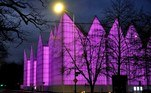 Szczecin (Poland), 26/03/2020.- The building of the Szczecin Philharmonic is illuminated in purple to mark the International Day of Epilepsy, in Szczecin, Poland, 26 March 2020 (reissued 20 May 2020). Situated between the hues of red and blue, the color purple is widely considered both energetic and relaxing. Because of its rarity in nature and historic use by royals and high-ranked priests, purple still conjures connotations of luxury, regality, wealth and power. (Polonia) EFE/EPA/MARCIN BIELECKI ATTENTION: This Image is part of a PHOTO SET POLAND OUT