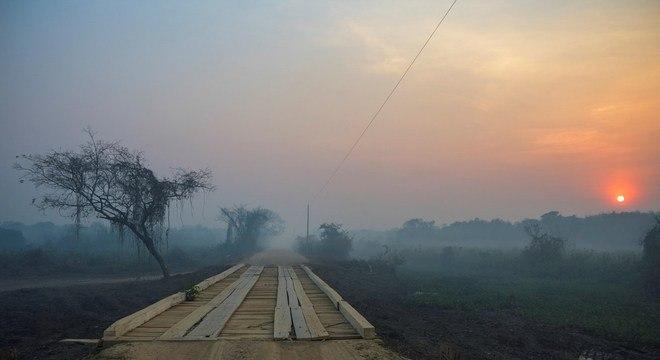 Fumaça e destruição viraram parte da paisagem do Porto Jofre, no Pantanal do MT